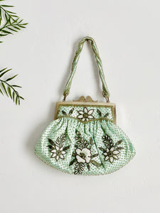 Vintage seafoam blue beaded purse evening bag