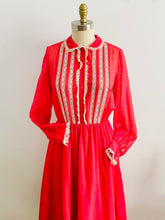 Load image into Gallery viewer, vintage 1970s red lace dress with peter pan collar  on mannequin