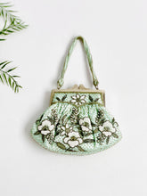 Load image into Gallery viewer, Vintage seafoam blue beaded purse evening bag
