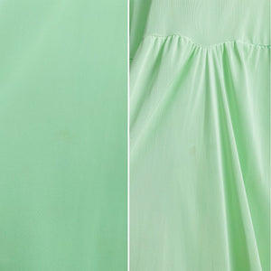 Vintage 1960s pastel green lingerie slip dress with ribbon