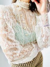Load image into Gallery viewer, Vintage 1970s Lace Blouse Victorian Style w Balloon Sleeves