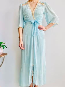 Vintage 1930s Pastel Blue Silk Lingerie Dressing Gown with Ribbon Flowers