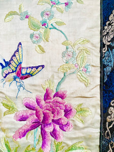 Vintage 1930s Chinese embroidery art pastel peonies and butterfly
