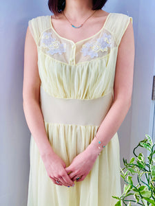 1960s Yellow sheer lingerie gown with embroidered flowers on model