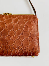 Load image into Gallery viewer, Vintage brown faux crocodile leather handbag