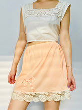 Load image into Gallery viewer, 1910s lace top and peach color ribbon bow lace nylon skirt on model