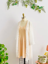 Load image into Gallery viewer, 1920s peach color wool slip dress an white sheer robe on mannequin