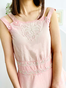 Antique 1910s Edwardian pink top with soutache