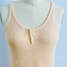Load image into Gallery viewer, closeup of 1920s peach color wool slip dress on mannequin