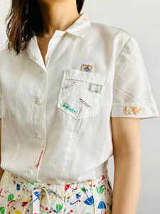 Vintage 1940s white cotton top with embroidered vintage labels