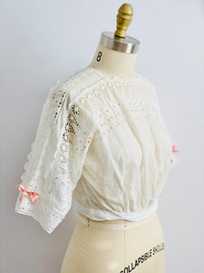 Antique Edwardian Eyelet Lace Top w Ribbon Bow 1910s Cotton Top