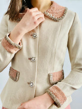 Load image into Gallery viewer, Vintage 1940s jacket with beaded pink velvet and rhinestone buttons