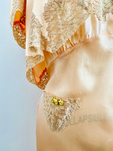 Load image into Gallery viewer, Vintage 1930s Pink Satin Lace Lingerie Dress Set w Ribbon Flowers