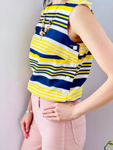 Load image into Gallery viewer, 1960s yellow and blue striped top with side square buttons on model