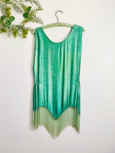 Load image into Gallery viewer, Vintage 1920s seafoam blue lamé top with beaded fringe