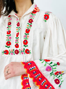 Vintage 1970s Embroidered Cotton Blouse with Crochet Flared Sleeves