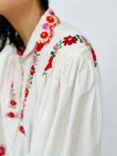 Load image into Gallery viewer, Vintage 1970s Embroidered Cotton Blouse with Crochet Flared Sleeves