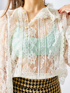 Vintage 1970s Lace Blouse Victorian Style w Balloon Sleeves