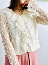 Load image into Gallery viewer, Vintage 1970s tulle lace blouse with ruffled collar and sleeves