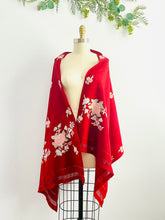 Load image into Gallery viewer, Vintage 1940s ruby red wool scarf w pastel embroidered flowers