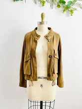 Load image into Gallery viewer, Minimalist Dark Olive Color Linen Jacket w Large Pockets
