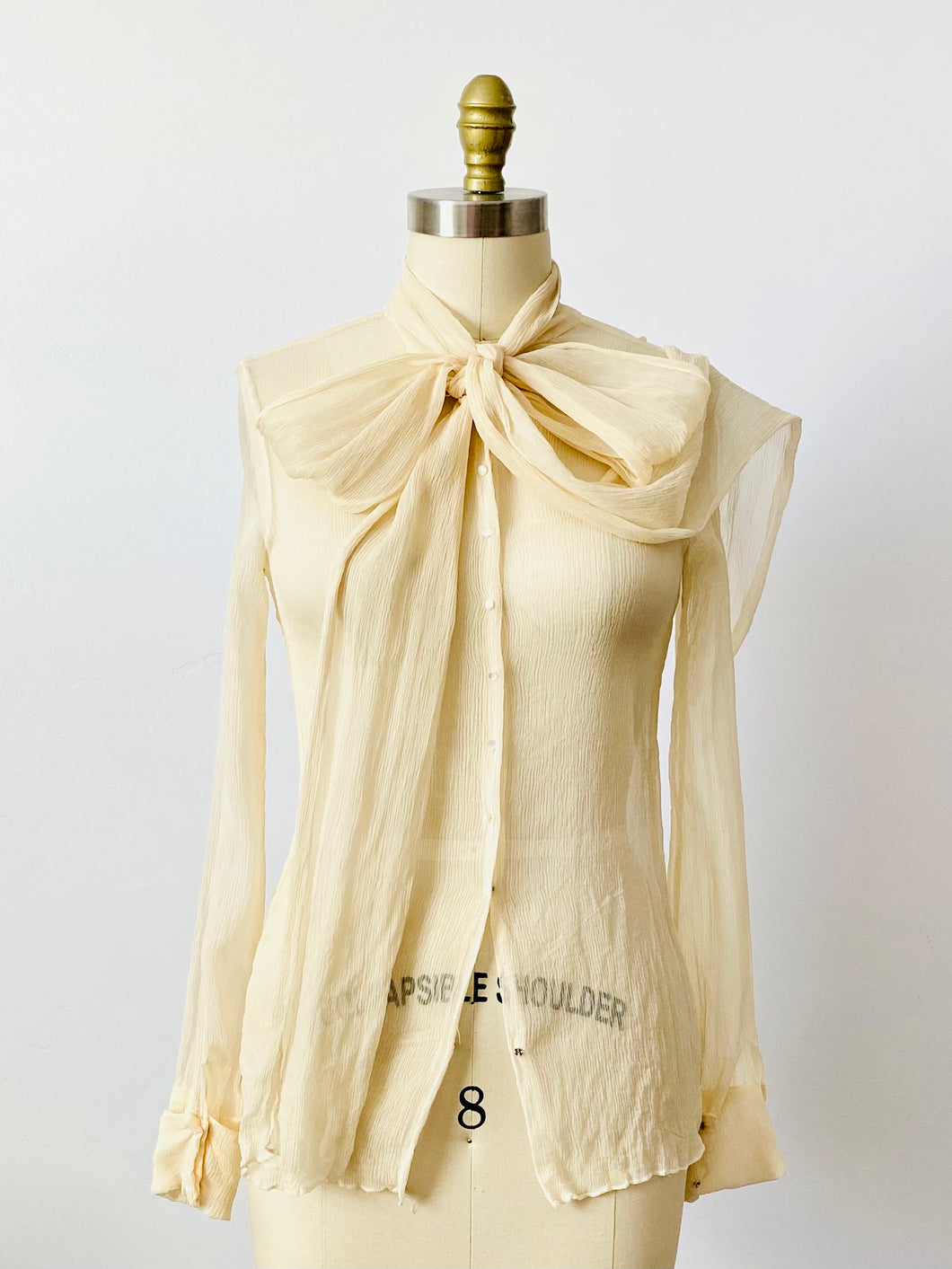 Vintage 1930s cream color silk chiffon blouse