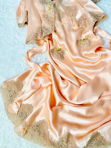 Vintage 1930s Pink Satin Lace Lingerie Dress Set w Ribbon Flowers