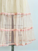 Load image into Gallery viewer, Vintage 1950s Pastel Pink Tulle Lace Skirt Sheer UnderSkirt