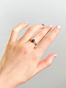 Antique 10k rose gold garnet ring victorian rose cut ring