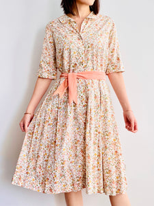 1940s Liberty London Floral Dress Daisies Print Fall Colors
