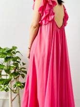 Load image into Gallery viewer, Vintage 1960s bubblegum pink ruffled full length lingerie dress
