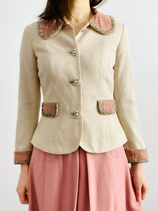 Vintage 1940s jacket with beaded pink velvet and rhinestone buttons