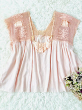 Load image into Gallery viewer, Vintage 1920s Pink Crochet Lace Camisole Silk Ribbon Trim