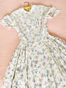 Vintage 1940s novelty print cotton dress pastel colors