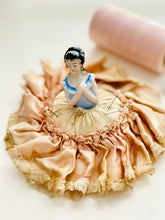 Load image into Gallery viewer, Vintage 1920s half doll pincushion in ruched silk skirt