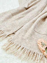 Load image into Gallery viewer, Vintage Dusty Pink Cozy Cardigan w Fringe Sweater Duster