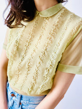 Load image into Gallery viewer, Vintage 1940s sage green ruched top with Peter Pan collar