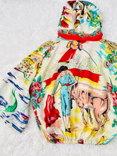 Load image into Gallery viewer, Vintage 1960s novelty print hooded rayon top