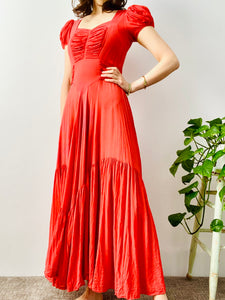 Vintage 1930s coral color ruched silk dress with puff sleeves
