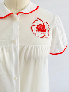 Vintage 1960s Lingerie Dress w Red Embroidered Flowers Peter Pan Collar