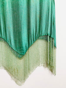 Vintage 1920s seafoam blue lamé top with beaded fringe
