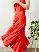Load image into Gallery viewer, Vintage 1930s coral color ruched silk dress with puff sleeves