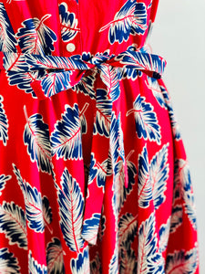 Novelty Print Dress Leaves print Red Dress