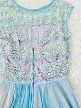Load image into Gallery viewer, Vintage 1950s pastel blue sequin beaded silk lace dress
