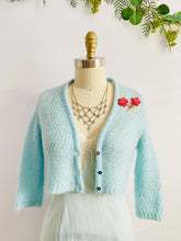 Load image into Gallery viewer, Pastel Blue Cropped Sweater w Embroidered Flowers Vintage Cardigan