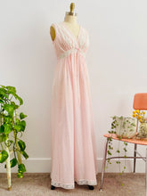 Load image into Gallery viewer, vintage 1940s pink lingerie lace night gown on mannequin