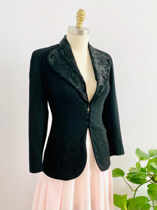 Vintage 1930s Black Wool Blazer with Pony Hair Collar