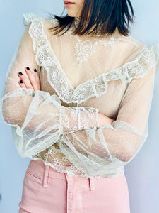 Vintage 1970s Tulle Lace Blouse Victorian Style