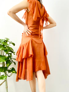 Vintage 1920s orange silk chiffon ruched dress w ribbon bow