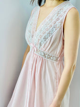 Load image into Gallery viewer, vintage 1940s pink lingerie lace night gown on model
